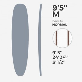 "9'5'' M Longboard Millennium Foam - latte 2 x 3/8"" Red Cedar offsets stringers at 3"" from center, MILLENNIUM FOAM"