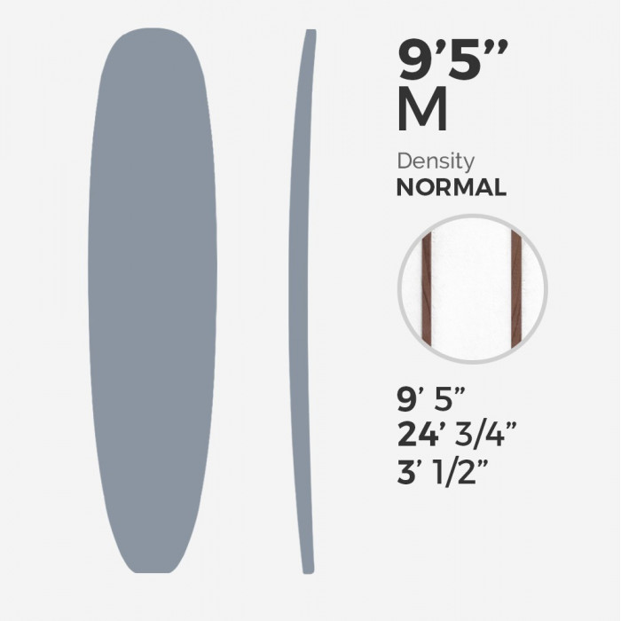 "9'5'' M Longboard Millennium Foam - latte 2 x 3/8"" Red Cedar offsets stringers at 3"" from center, MILLENNIUM FOAM"