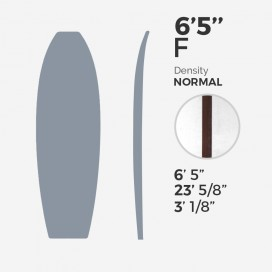 6'5'' F Fish - latte 5/32'' Dark Wood, MILLENNIUM FOAM