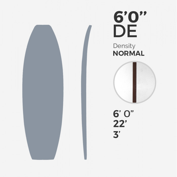 6'0'' DE Fish - latte 5/32'' Dark Wood, MILLENNIUM FOAM