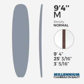 9'4'' M Longboard - Latte 3/8'' Red Cedar, MILLENNIUM FOAM