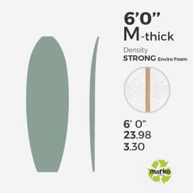 EPS 6'0'' M TH - Marko Foam surfboard blank - 4mm Ply - Enviro Foam 2.0