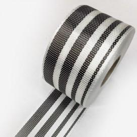 Bande de renfort hybride fibre de verre et carbone avec motifs gradient, largeur 80mm