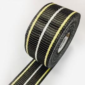 Bande de renfort hybride kevlar, carbone, glass uni - 200gr - largeur 65mm
