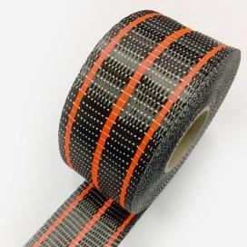 Bande de renfort hybride fibre de verre et carbone - fils rouge fluo, largeur 65mm