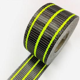 Bande de renfort hybride fibre de verre et carbone - fils jaune fluo, largeur 80mm