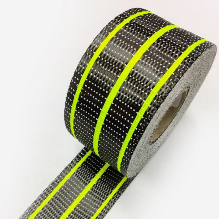 Bande de renfort hybride fibre de verre et carbone - fils jaune fluo, largeur 65mm