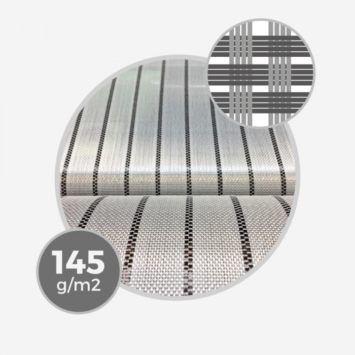 Tissu hybride fibre de verre e-glass & insert carbone tous les 20mm - 145gr/m - 4,3oz - largeur 76cm
