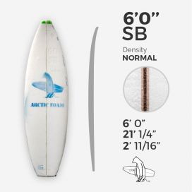 "6'0'' SB Shortboard - Green Density - 1/8"" Bass Ply, ARCTIC FOAM"