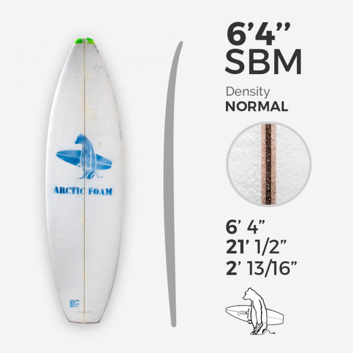 6'4'' SBM Shortboard - Green density - latte 1/8'' Ply, ARCTIC FOAM