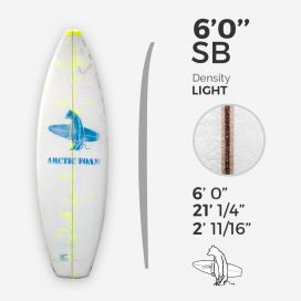 "6'0'' SB Shortboard - Yellow light density - latte 1/8"" Ply, ARCTIC FOAM"