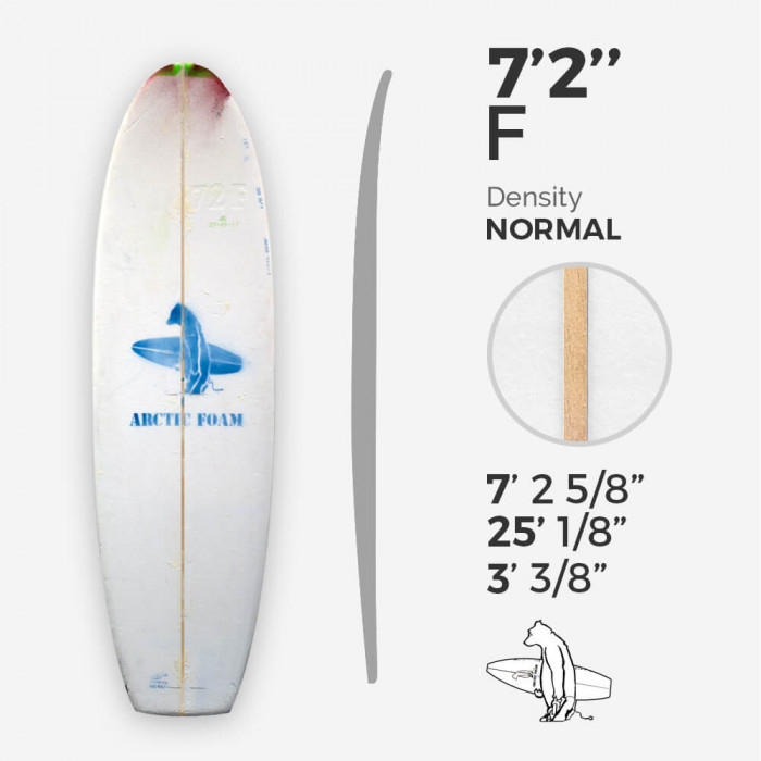 7'2'' F Fish - Green density - latte 3/16'' Basswood, ARCTIC FOAM