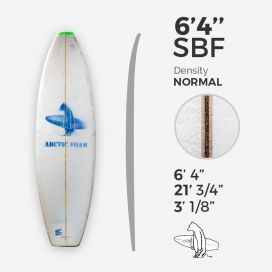 6'4'' SBF Shortboard - Green density - latte 1/8'' Ply, ARCTIC FOAM