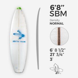 6'8'' SBM Shortboard - Green density - latte 1/8'' Ply, ARCTIC FOAM