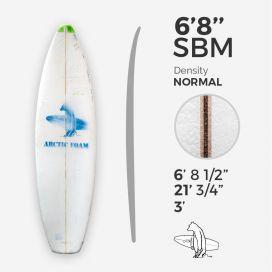 6'8'' SBM Shortboard - Green density - latte 1/8'' Ply, ARCTIC FOAM