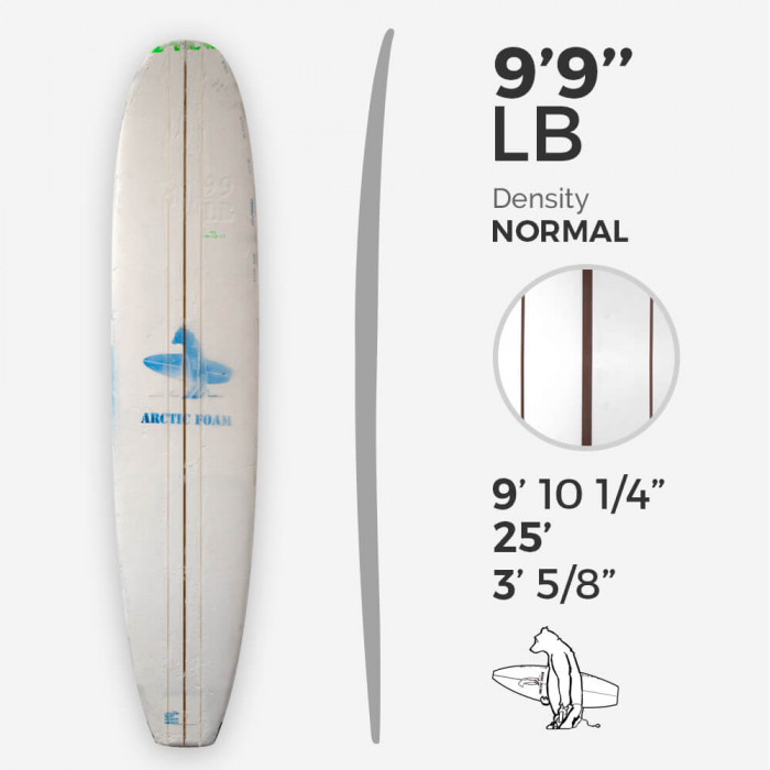 9'9'' LB Longboard - Green density - 3 lattes Red Cedar, ARCTIC FOAM