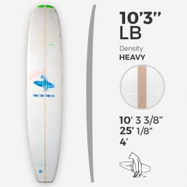 "10'3'' LB Longboard - Blue density - latte 3/8"" Basswood, ARCTIC FOAM"