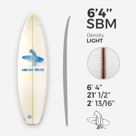 "6'4'' SBM Shortboard - Yellow light density - latte 1/8"" Ply, ARCTIC FOAM"