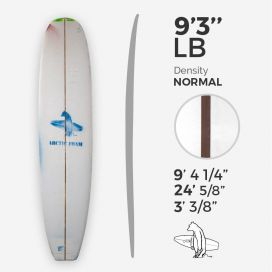 9'3'' L Longboard, Green density - latte 3/8'' Red Cedar, ARCTIC FOAM
