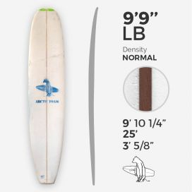 9'9'' L Longboard Arctic Foam - Green Density - 3/8'' Red Cedar, ARCTIC FOAM