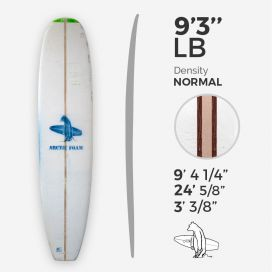 "9'3'' L Longboard Arctic Foam - Green Density - T-band 3/8'' Bass + 2 x 1/8"" Red Cedar, ARCTIC FOAM"