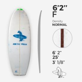 "6'2'' F Fish - Green Density - latte 1/8"" Red Cedar, ARCTIC FOAM"