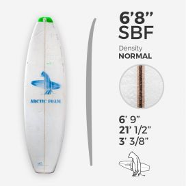 6'8'' SBF Shortboard - Green density - latte 1/8'' Ply, ARCTIC FOAM