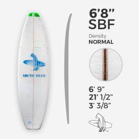6'8'' SBF Shortboard - Green density - latte 1/8'' Ply, ARCTIC FOAM