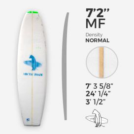7'2'' MF Fish - Green density - latte 3/16'' Basswood, ARCTIC FOAM