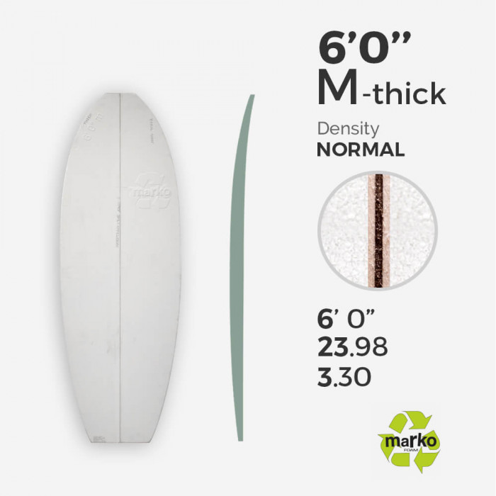 6'0'' M Thick EPS - 6'0'' x 24'' x 3,30'' - latte 1/8'' Ply, MARKO FOAM