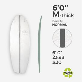6'0'' M Thick EPS - 6'0'' x 24'' x 3,30'', 1'' Grey PU stringer, MARKO FOAM