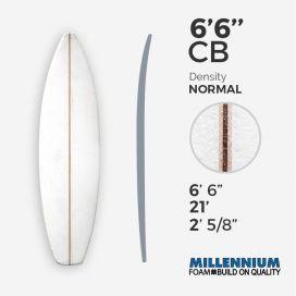 6'6'' CB hand shape Shortboard - Latte - 1/8 Team Aussie Ply - T3, MILLENNIUM FOAM