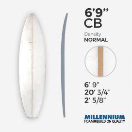 "6'9'' CB hand shape Shortboard - Latte 3/16"" Team Aussie Ply - T4, MILLENNIUM FOAM"