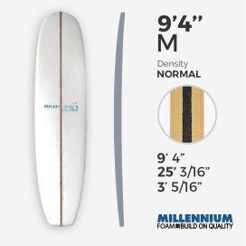 "9'4'' M Longboard - latte - 3/8"" black foam + Spruce T-Band 2x 3/8"" Spruce, MILLENNIUM FOAM"