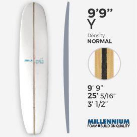 """9'9'' Y Longboard - Latte 3/8"""" black foam + Spruce T-Band 2x 3/8"""" Spruce, MILLENNIUM FOAM"""