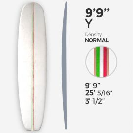 "9'9'' Y Longboard - Latte 3/8"" green + 3/8'' white + 3/8"" red foams + T-Band 2x 3/8"" Bass, MILLENNIUM FOAM"