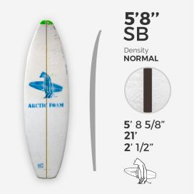 "5'8'' SB Shortboard - Green Density - 3/32"" Black/Black Ply, ARCTIC FOAM"