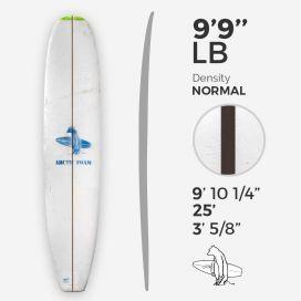 9'9'' L Longboard, Green density - costilla de 1/4'' Dyed Basswood Brown, ARCTIC FOAM