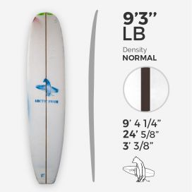 9'3'' L Longboard, Green density - 1/4'' Dyed Basswood Brown stringer, ARCTIC FOAM