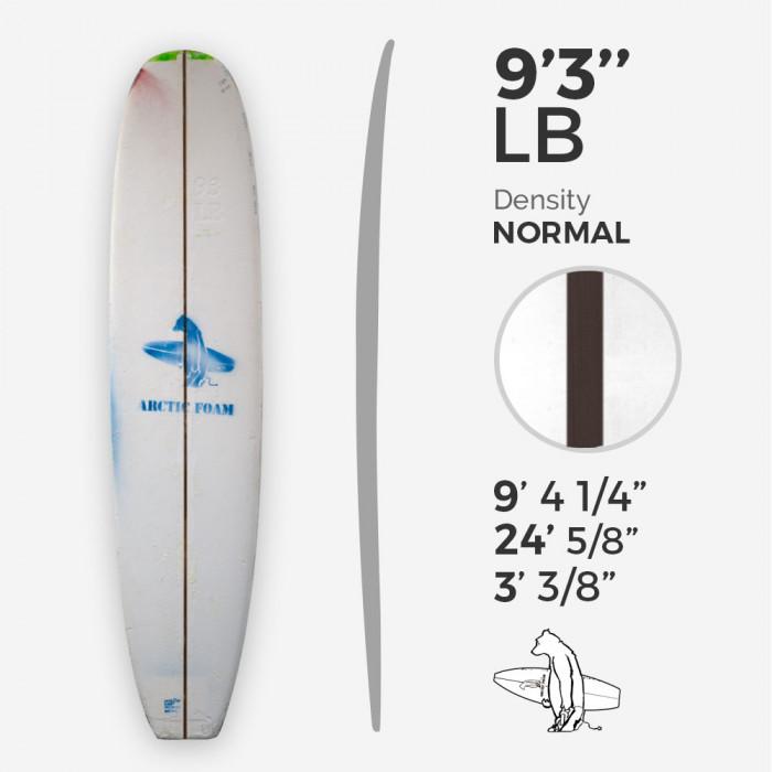9'3'' L Longboard, Green density - latte 1/4'' Dyed Basswood Brown, ARCTIC FOAM
