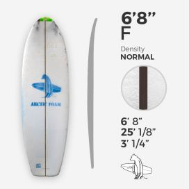 6'8'' F Fish - Green density - 1/8'' Dyed Basswood Brown stringer, ARCTIC FOAM