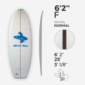 6'2'' F Fish - Green density - 1/8'' Dyed Basswood Brown stringer, ARCTIC FOAM