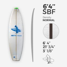 6'4'' SBF Shortboard - Green density - 1/8'' Black/Black/Black Ply stringer, ARCTIC FOAM