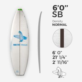 "6'0'' SB Shortboard - Green Density - 1/8"" Black/Black/Black Ply, ARCTIC FOAM"