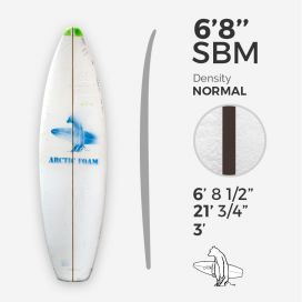 6'8'' SBM Shortboard - Green density - latte 1/8'' Black/Black/Black Ply, ARCTIC FOAM