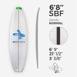 6'8'' SBF Shortboard - Green density - costilla de 1/8'' Black/Black/Black Ply, ARCTIC FOAM