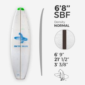 6'8'' SBF Shortboard - Green density - latte 1/8'' Black/Black/Black Ply, ARCTIC FOAM