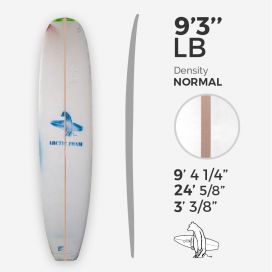 9'3'' L Longboard, Green density - latte 5/16'' Basswood, ARCTIC FOAM