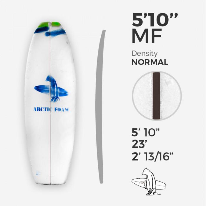 "5'10'' F Fish - Green Density - latte 1/8"" Dyed Basswood Brown, ARCTIC FOAM"