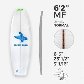6'2'' MF Fish - Green density - latte 1/8'' Ply, ARCTIC FOAM
